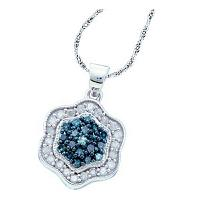 10kt White Gold Womens Round Blue Color Enhanced Diamond Hexagon Cluster Pendant 3/8 Cttw