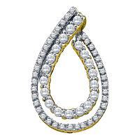 10kt Yellow Gold Womens Round Diamond Teardrop Pendant 1/2 Cttw
