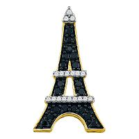 10kt Yellow Gold Womens Round Black Color Enhanced Diamond Eiffel Tower France Pendant 1/3 Cttw