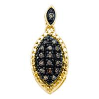 10kt Yellow Gold Womens Round Cognac-brown Color Enhanced Diamond Cluster Pendant 1/5 Cttw