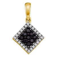 10kt Yellow Gold Womens Round Black Color Enhanced Diamond Diagonal Square Frame Pendant 1/4 Cttw