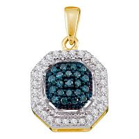 10kt Yellow Gold Womens Round Blue Color Enhanced Diamond Square Frame Cluster Pendant 1/5 Cttw