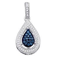 10kt White Gold Womens Round Blue Color Enhanced Diamond Teardrop Cluster Pendant 1/5 Cttw