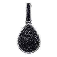 Sterling Silver Black Color Enhanced Round Diamond Womens Dangling Teardrop Cluster Pendant 3/4 Cttw