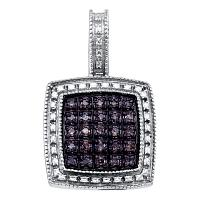 Sterling Silver Womens Round Brown Color Enhanced Diamond Square Cluster Pendant 1/5 Cttw