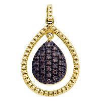 Yellow-tone Sterling Silver Womens Round Cognac-brown Color Enhanced Diamond Teardrop Pendant 3/8 Cttw