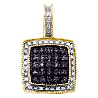 Yellow-tone Sterling Silver Womens Round Brown Color Enhanced Diamond Square Cluster Pendant 1/5 Cttw