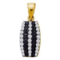 14kt Yellow Gold Womens Round Black Color Enhanced Diamond Vertical Stripe Pendant 3/8 Cttw