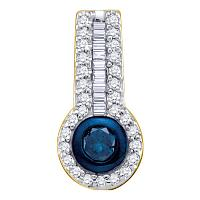 10kt Yellow Gold Womens Round Blue Color Enhanced Diamond Solitaire Circle Frame Pendant 1/3 Cttw