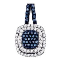 10kt White Gold Womens Round Blue Color Enhanced Diamond Square Cluster Pendant 1/2 Cttw