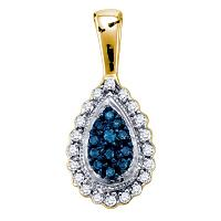 10k Yellow Gold Womens Blue Color Enhanced Diamond Teardrop Cluster Pendant 1/4 Cttw