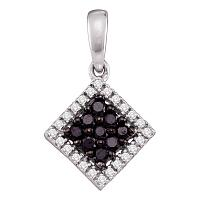 14kt White Gold Womens Round Black Color Enhanced Diamond Square Cluster Pendant 1/3 Cttw