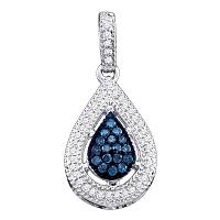 14kt White Gold Womens Round Blue Color Enhanced Diamond Teardrop Cluster Pendant 1/5 Cttw