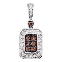 10kt White Gold Womens Round Cognac-brown Color Enhanced Diamond Rectangle Cluster Pendant 1/4 Cttw