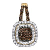 10kt Yellow Gold Womens Round Cognac-brown Color Enhanced Diamond Square Frame Pendant 1/2 Cttw