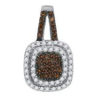10kt White Gold Womens Round Cognac-brown Color Enhanced Diamond Square Frame Pendant 1/2 Cttw