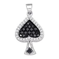 10kt White Gold Womens Round Black Color Enhanced Diamond Spade Cluster Pendant 1/2 Cttw
