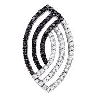 10k White Gold Womens Black Color Enhanced Diamond Striped Oval-shape Pendant 1/2 Cttw