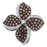 10kt White Gold Womens Round Cognac-brown Color Enhanced Diamond Flower Cluster Pendant 1-1/12 Cttw