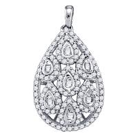10kt White Gold Womens Round Diamond Teardrop Cluster Pendant 1 Cttw