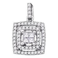 14kt White Gold Womens Princess Diamond Square Cluster Pendant 1/3 Cttw