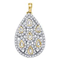 10kt Yellow Gold Womens Round Diamond Teardrop Cluster Pendant 7/8 Cttw