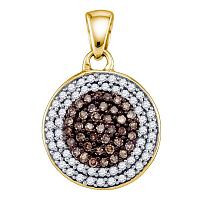 10kt Yellow Gold Womens Round Cognac-brown Color Enhanced Diamond Cluster Pendant 1/2 Cttw