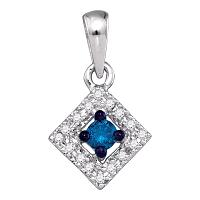 10kt White Gold Womens Round Blue Color Enhanced Diamond Square Pendant 1/5 Cttw