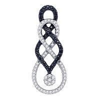 10kt White Gold Womens Round Black Color Enhanced Diamond Cluster Pendant 1/3 Cttw
