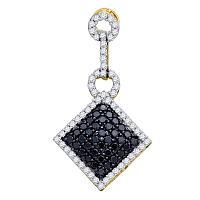 10kt Yellow Gold Womens Round Black Color Enhanced Diamond Diagonal Square Cluster Pendant 1.00 Cttw