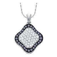 10kt White Gold Womens Round Black Color Enhanced Diamond Cluster Pendant 1.00 Cttw