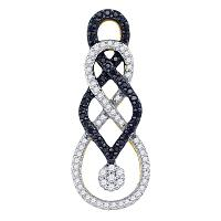 10kt Yellow Gold Womens Round Black Color Enhanced Diamond Cluster Pendant 1/3 Cttw