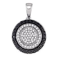10K White Gold Black Color Enhanced Round Diamond Womens Circle Pendant 1/2 Cttw