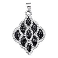 10kt White Gold Womens Round Black Color Enhanced Diamond Honeycomb Cluster Pendant 5/8 Cttw