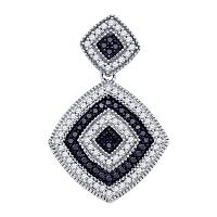 10kt White Gold Womens Round Black Color Enhanced Diamond Concentric Square Pendant 1/3 Cttw