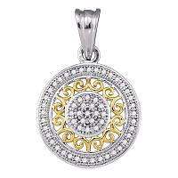 10kt Two-tone Gold Womens Round Diamond Circle 2-tone Pendant 1/6 Cttw