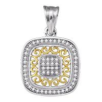10kt Two-tone Gold Womens Round Diamond Square Pendant 1/6 Cttw