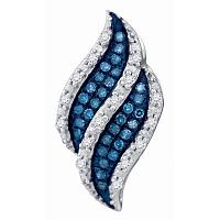 10kt White Gold Womens Round Blue Color Enhanced Diamond Cluster Pendant 1/10 Cttw