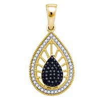 10kt Yellow Gold Womens Round Black Color Enhanced Diamond Milgrain Teardrop Pendant 1/3 Cttw