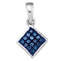 10kt White Gold Womens Round Blue Color Enhanced Diamond Square Pendant 1/20 Cttw