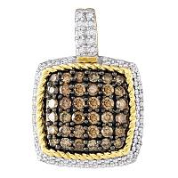 10kt Yellow Gold Womens Round Cognac-brown Color Enhanced Diamond Square Cluster Pendant 3/4 Cttw