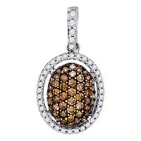 10kt White Gold Womens Round Brown Color Enhanced Diamond Oval Pendant 1/2 Cttw