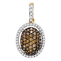 10kt Yellow Gold Womens Round Brown Color Enhanced Diamond Oval Pendant 1/2 Cttw