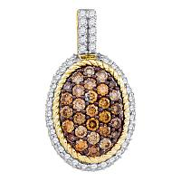 10kt Yellow Gold Womens Round Cognac-brown Color Enhanced Diamond Oval Rope Frame Cluster Pendant 1.00 Cttw