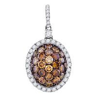 10kt White Gold Womens Round Cognac-brown Color Enhanced Diamond Oval Frame Cluster Pendant 1-1/3 Cttw