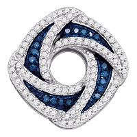 10kt White Gold Womens Round Blue Color Enhanced Diamond Square Pendant 1/2 Cttw