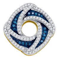 10kt Yellow Gold Womens Round Blue Color Enhanced Diamond Square Pendant 1/2 Cttw