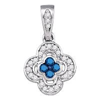 10kt White Gold Womens Round Blue Color Enhanced Diamond Quatrefoil Cluster Pendant 1/4 Cttw