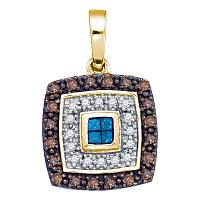 10kt Yellow Gold Womens Blue Cognac-brown Color Enhanced Diamond Square Frame Pendant 3/8 Cttw