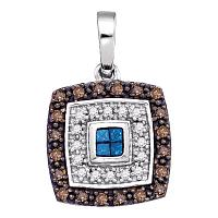 10kt White Gold Womens Blue Cognac-brown Color Enhanced Diamond Square Frame Pendant 3/8 Cttw